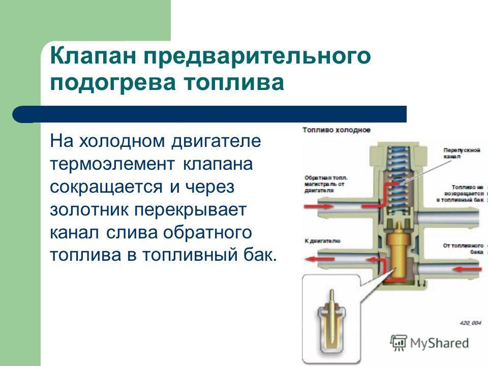 Клапан предварительного подогрева топлива На холодном двигателе термоэлемент клапана сокращается и через золотник перекрывает канал слива обратного топлива в топливный бак.