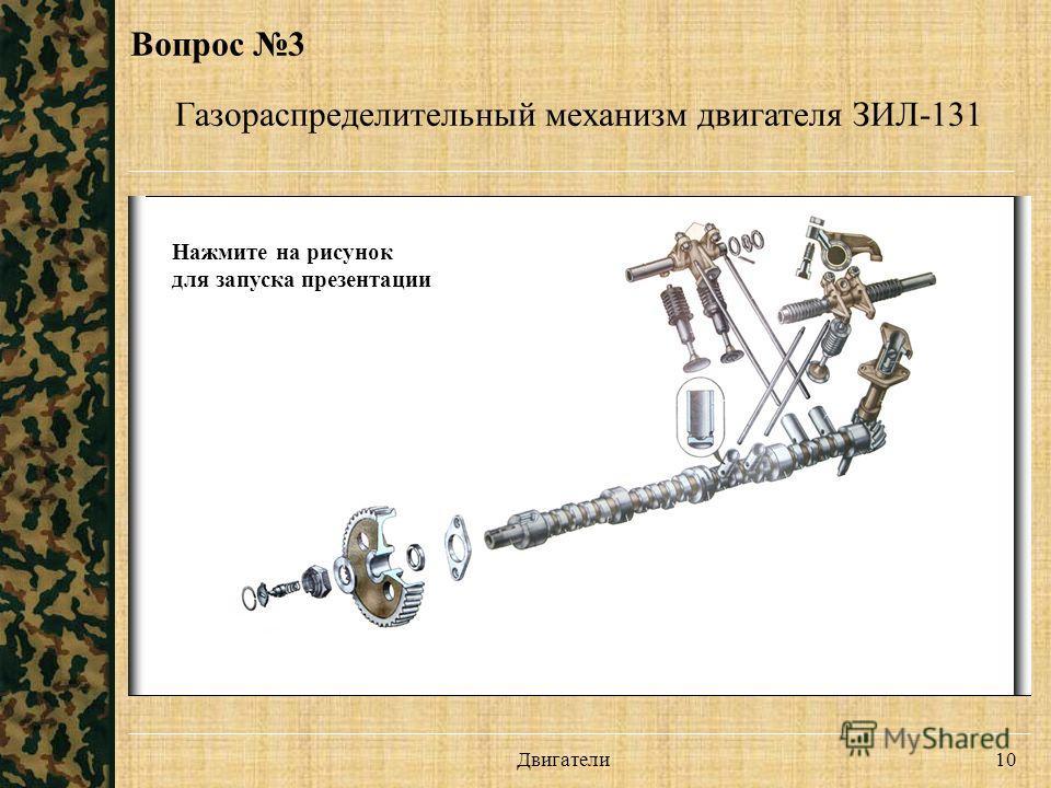 Двигатели 10 Вопрос 3 Газораспределительный механизм двигателя ЗИЛ-131 Нажмите на рисунок для запуска презентации