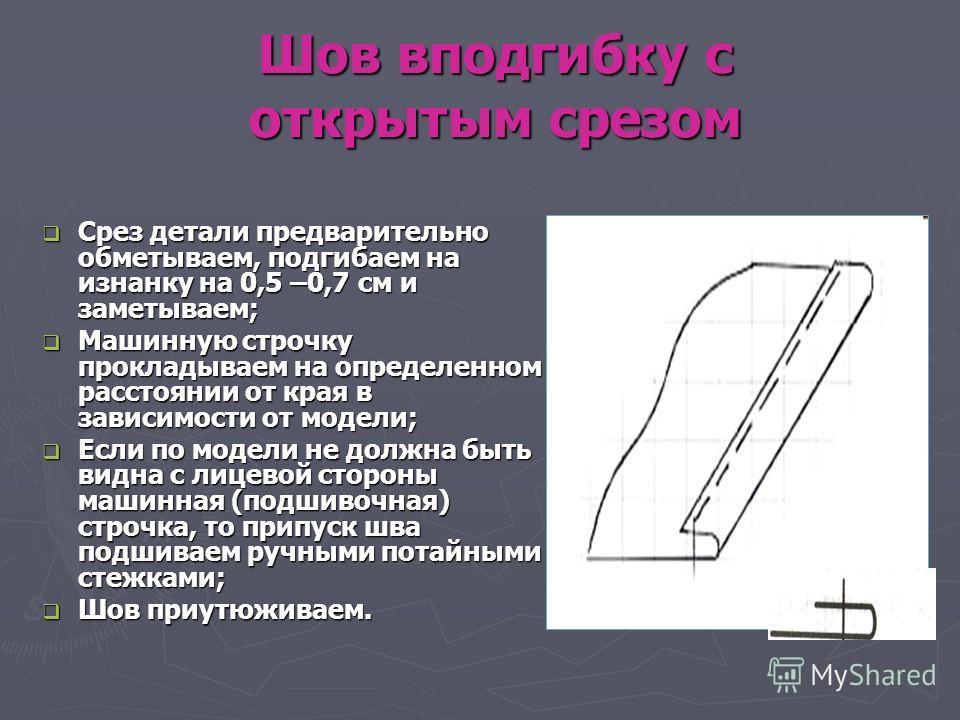 Шов вподгибку с открытым срезом Срез детали предварительно обметываем, подгибаем на изнанку на 0,5 –0,7 см и заметываем; Срез детали предварительно обметываем, подгибаем на изнанку на 0,5 –0,7 см и заметываем; Машинную строчку прокладываем на определ