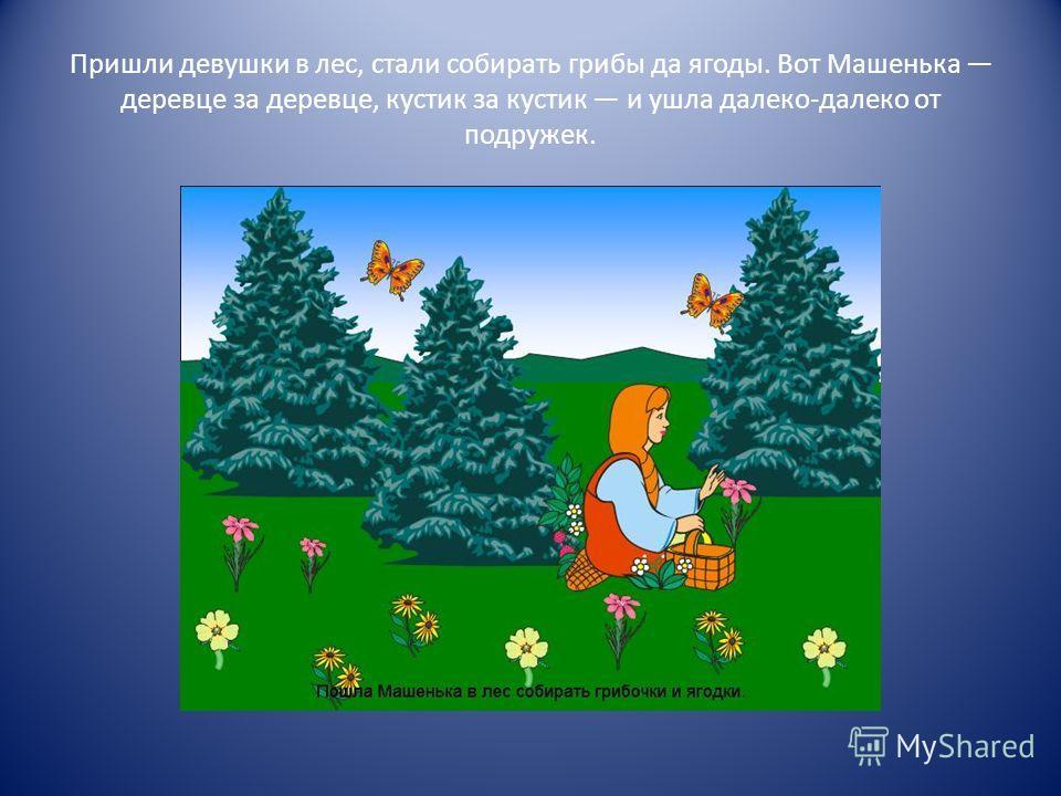 Пришли девушки в лес, стали собирать грибы да ягоды. Вот Машенька деревце за деревце, кустик за кустик и ушла далеко-далеко от подружек.