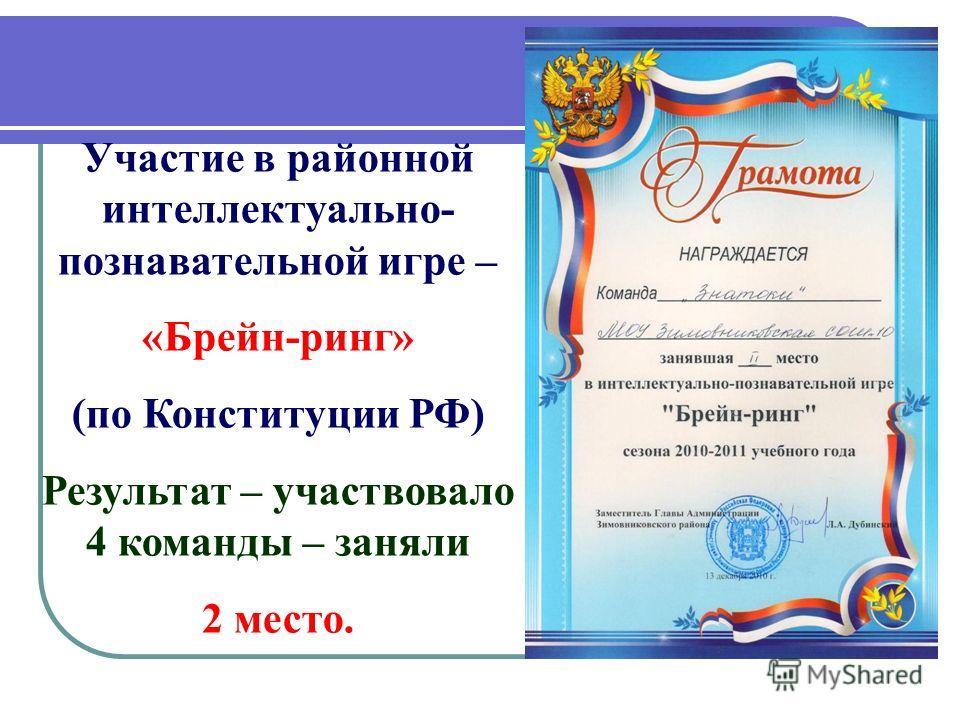 Участие в районной интеллектуально- познавательной игре – «Брейн-ринг» (по Конституции РФ) Результат – участвовало 4 команды – заняли 2 место.