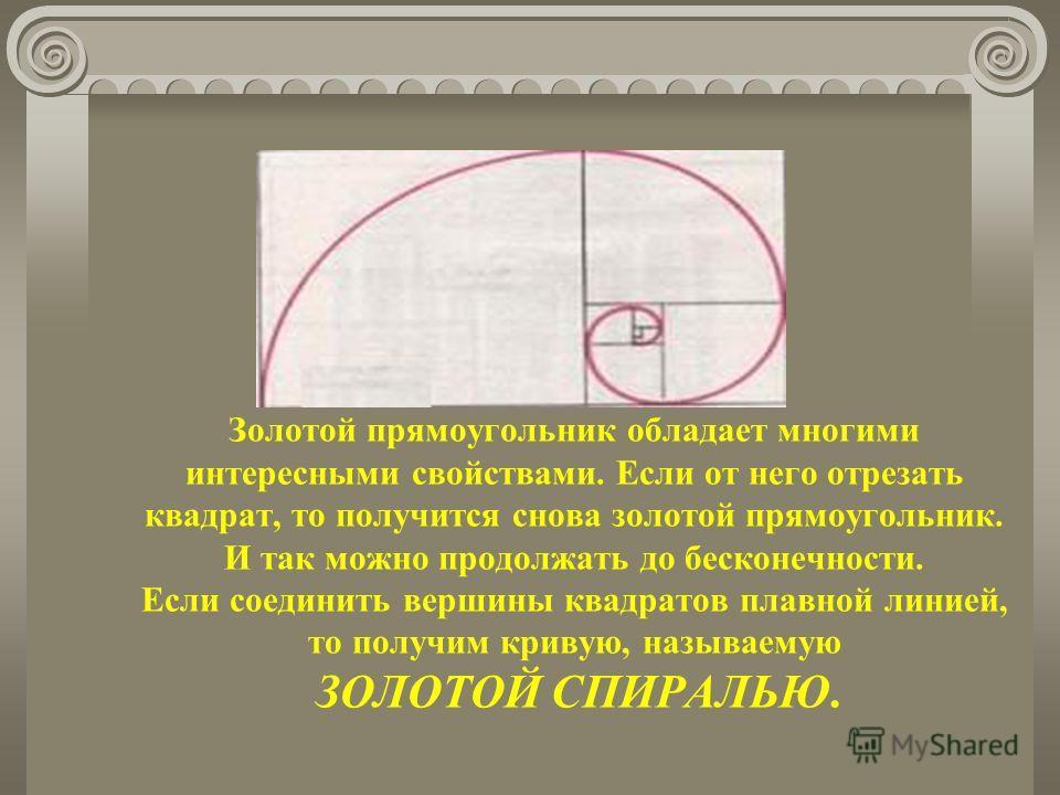 Золотой прямоугольник обладает многими интересными свойствами. Если от него отрезать квадрат, то получится снова золотой прямоугольник. И так можно продолжать до бесконечности. Если соединить вершины квадратов плавной линией, то получим кривую, назыв