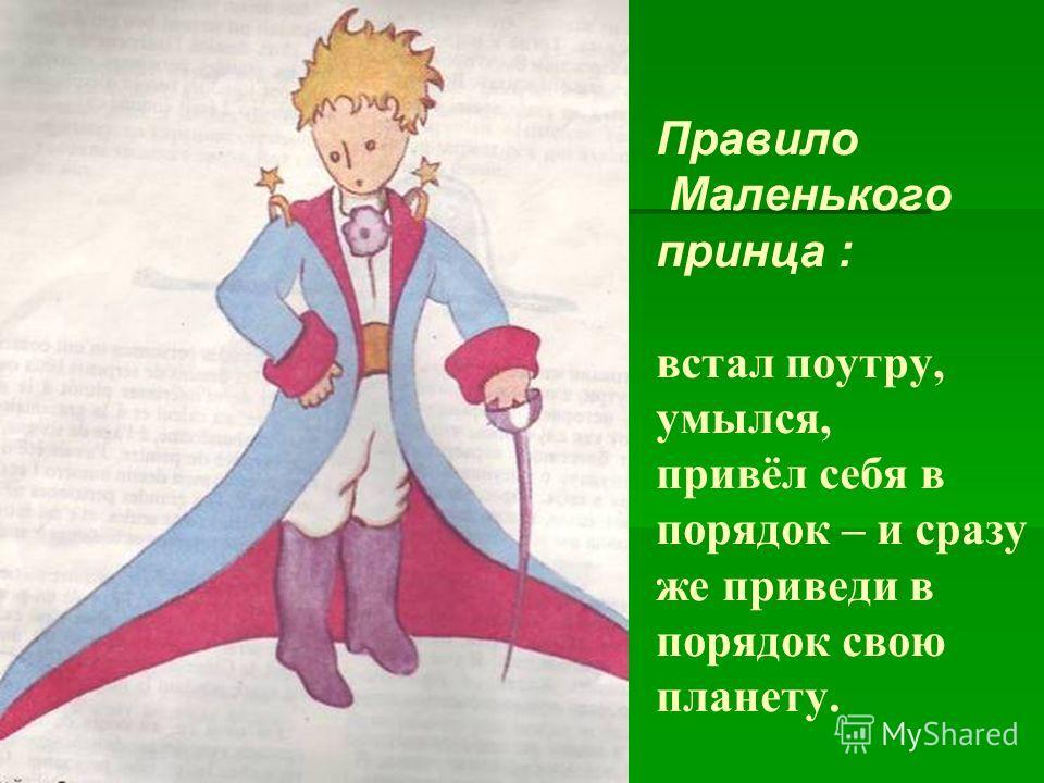 Правило Маленького принца : встал поутру, умылся, привёл себя в порядок – и сразу же приведи в порядок свою планету.