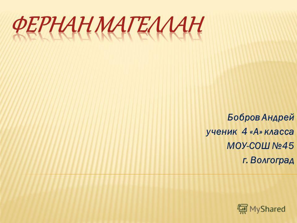 Бобров Андрей ученик 4 «А» класса МОУ-СОШ 45 г. Волгоград