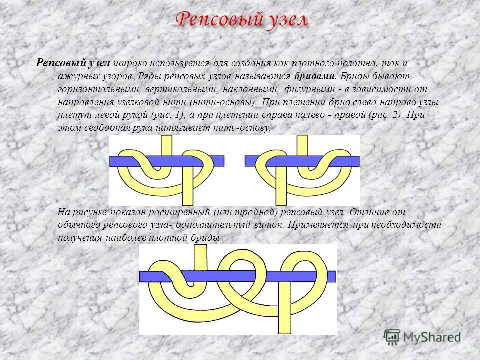 Репсовый узел широко используется для создания как плотного полотна, так и ажурных узоров. Ряды репсовых узлов называются бродами. Бриды бывают горизонтальными, вертикальными, наклонными, фигурными - в зависимости от направления узелковой нити (нити-