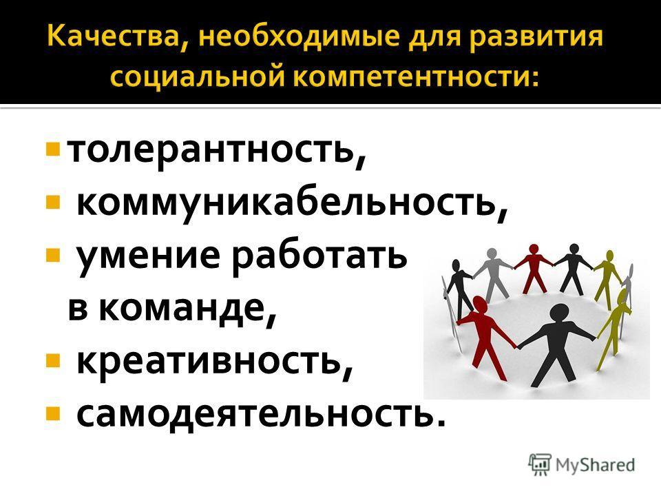 толерантность, коммуникабельность, умение работать в команде, креативность, самодеятельность.