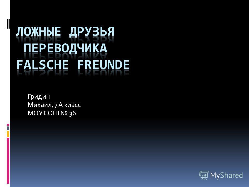 Гридин Михаил, 7 А класс МОУ СОШ 36