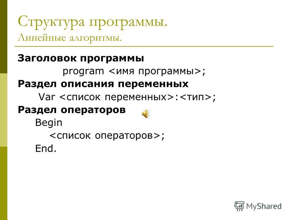 Структура программы. Линейные алгоритмы. Заголовок программы program ; Раздел описания переменных Var : ; Раздел операторов Begin ; End.