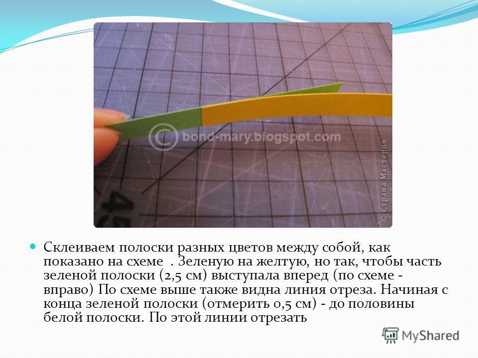 Склеиваем полоски разных цветов между собой, как показано на схеме. Зеленую на желтую, но так, чтобы часть зеленой полоски (2,5 см) выступала вперед (по схеме - вправо) По схеме выше также видна линия отреза. Начиная с конца зеленой полоски (отмерить