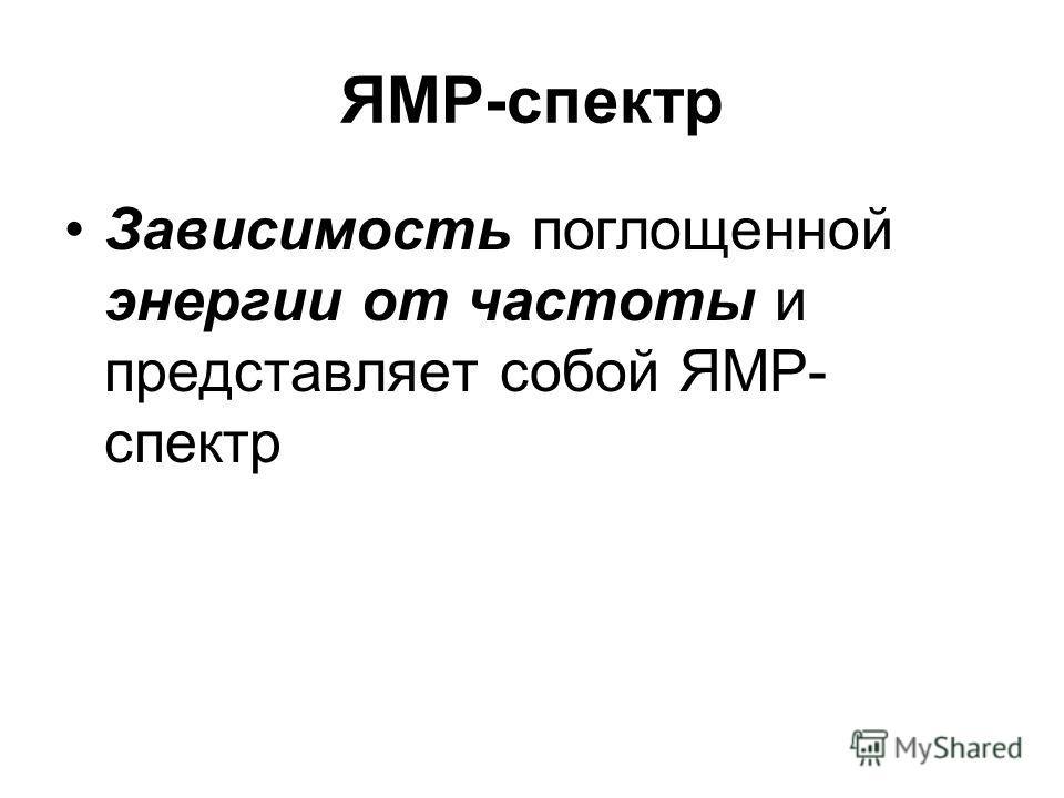 ЯМР-спектр Зависимость поглощенной энергии от частоты и представляет собой ЯМР- спектр