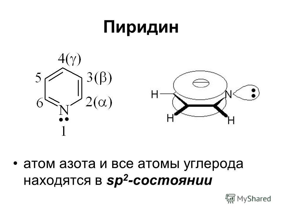 Пиридин атом азота и все атомы углерода находятся в sp 2 -состоянии