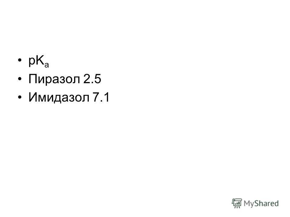 pK a Пиразол 2.5 Имидазол 7.1