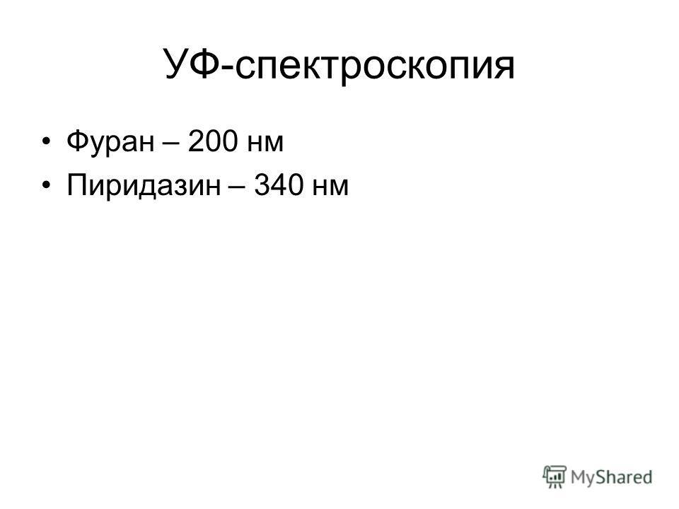 УФ-спектроскопия Фуран – 200 нм Пиридазин – 340 нм