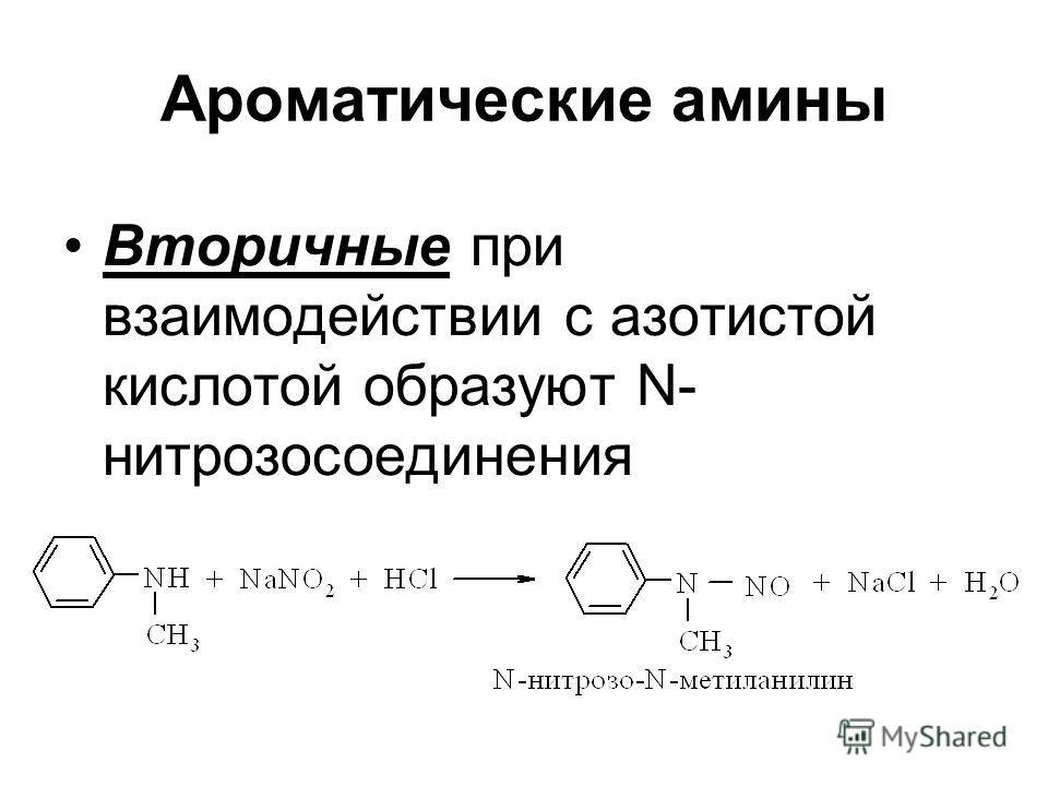 Ароматические амины Вторичные при взаимодействии с азотистой кислотой образуют N- нитрозосоединения