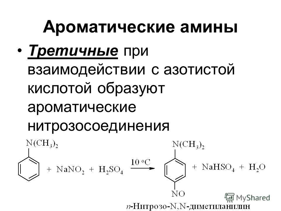 Ароматические амины Третичные при взаимодействии с азотистой кислотой образуют ароматические нитрозосоединения