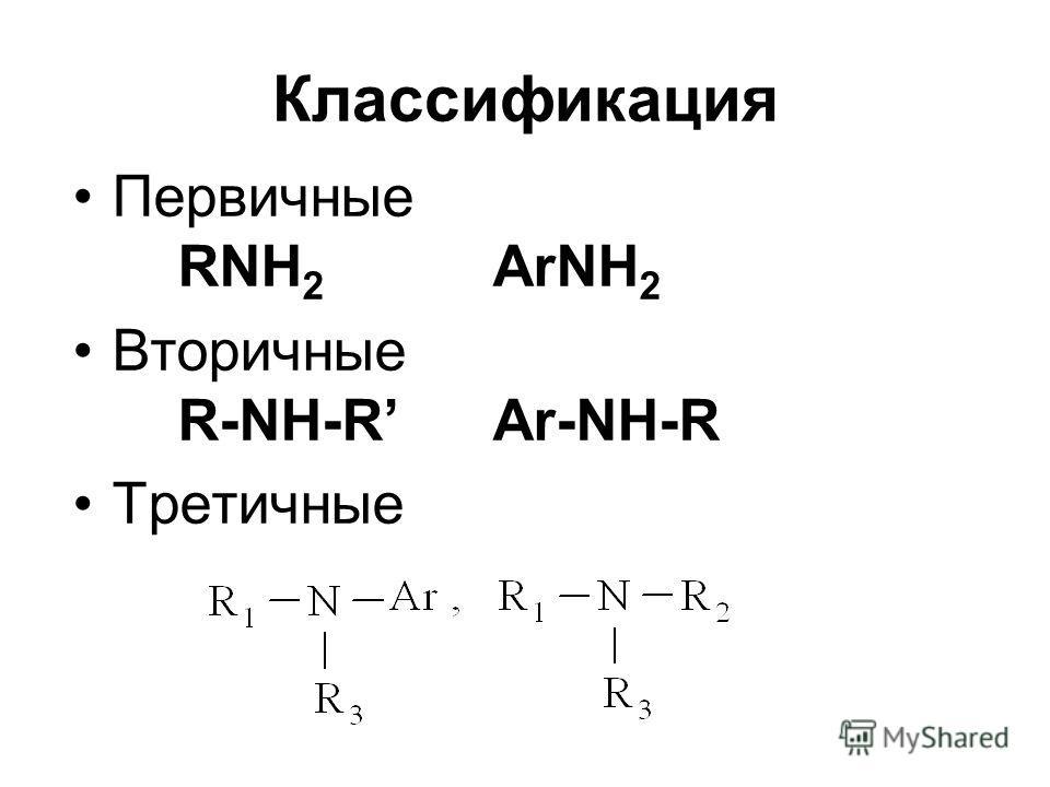Классификация Первичные RNH 2 ArNH 2 Вторичные R-NH-R Ar-NH-R Третичные