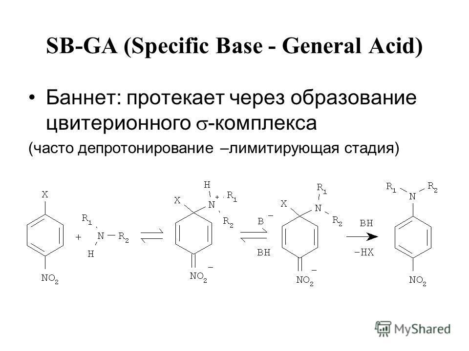 SB-GA (Specific Base - General Acid) Баннет: протекает через образование цвитерионного -комплекса (часто депротонирование –лимитирующая стадия)