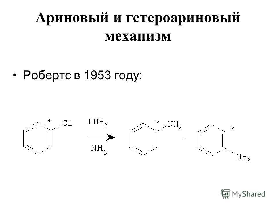 Ариновый и гетероариновый механизм Робертс в 1953 году: