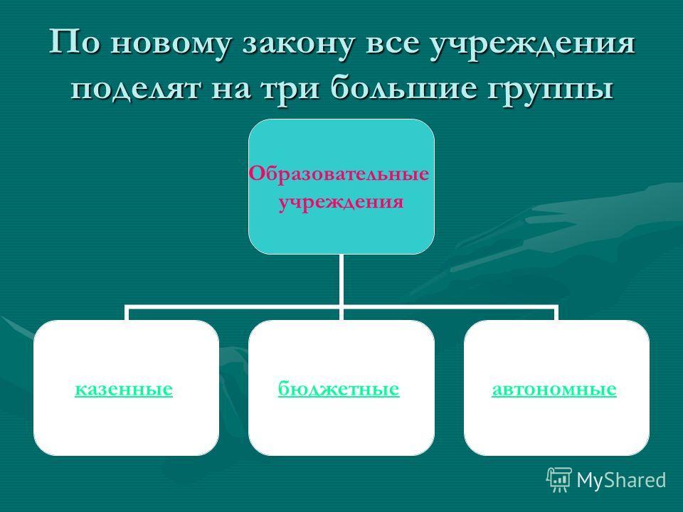 По новому закону все учреждения поделят на три большие группы Образовательные учреждения казенные бюджетные автономные