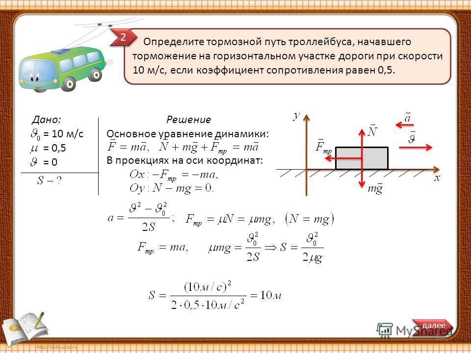 Решение Основное уравнение динамики: Определите тормозной путь троллейбуса, начавшего торможение на горизонтальном участке дороги при скорости 10 м/с, если коэффициент сопротивления равен 0,5. Дано: = 10 м/с = 0,5 = 0 В проекциях на оси координат: да