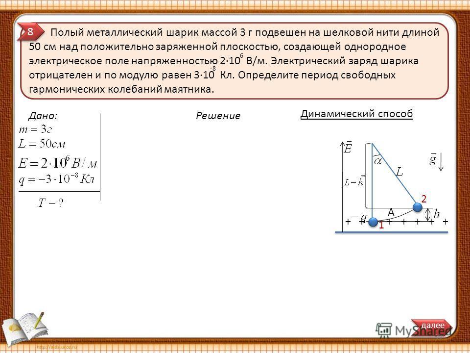 Полый металлический шарик массой 3 г подвешен на шелковой нити длиной 50 см над положительно заряженной плоскостью, создающей однородное электрическое поле напряженностью 210 В/м. Электрический заряд шарика отрицателен и по модулю равен 310 Кл. Опред