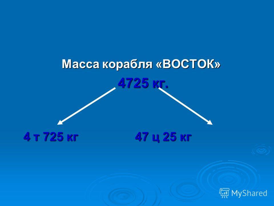 Масса корабля «ВОСТОК» 4725 кг. 4 т 725 кг 47 ц 25 кг