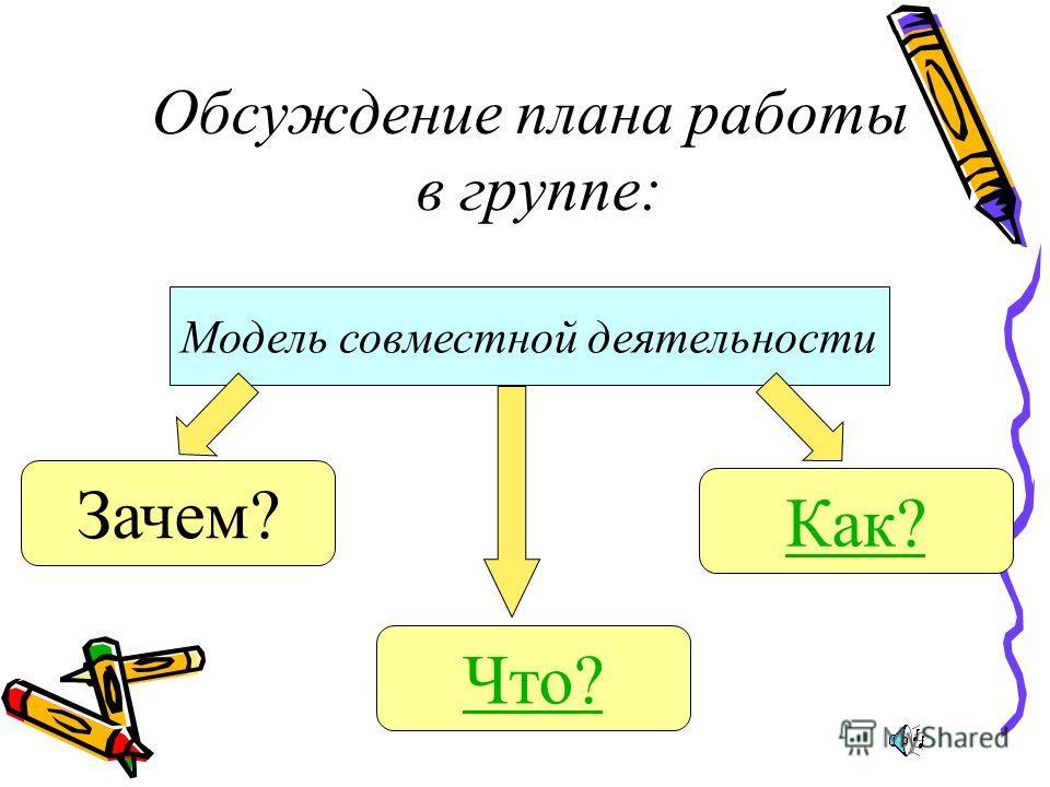 Обсуждение плана работы в группе: Модель совместной деятельности Зачем? Что? Как?