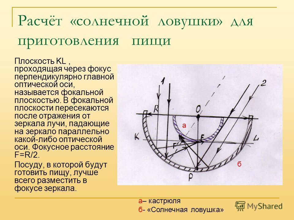 Расчёт «солнечной ловушки» для приготовления пищи Плоскость KL, проходящая через фокус перпендикулярно главной оптической оси, называется фокальной плоскостью. В фокальной плоскости пересекаются после отражения от зеркала лучи, падающие на зеркало па
