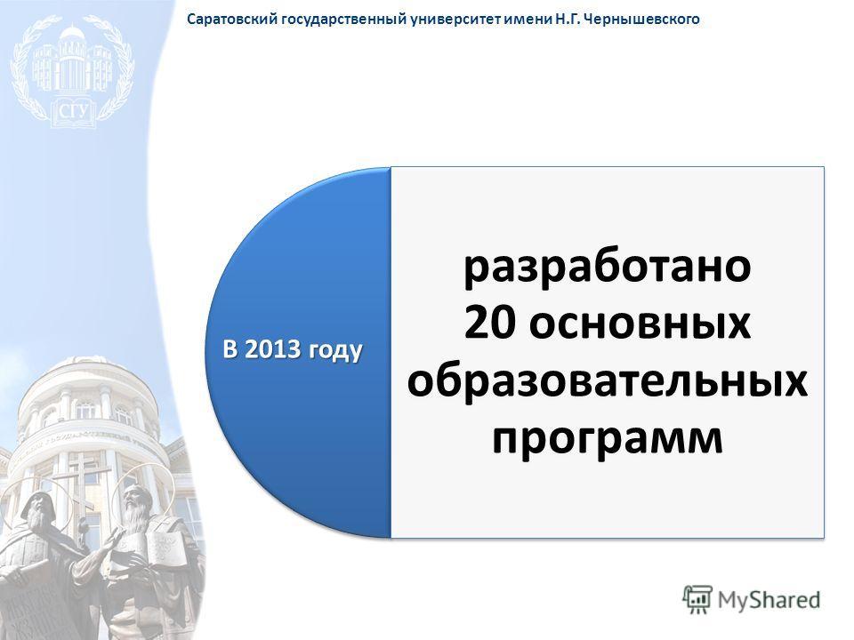 разработано 20 основных образовательных программ В 2013 году