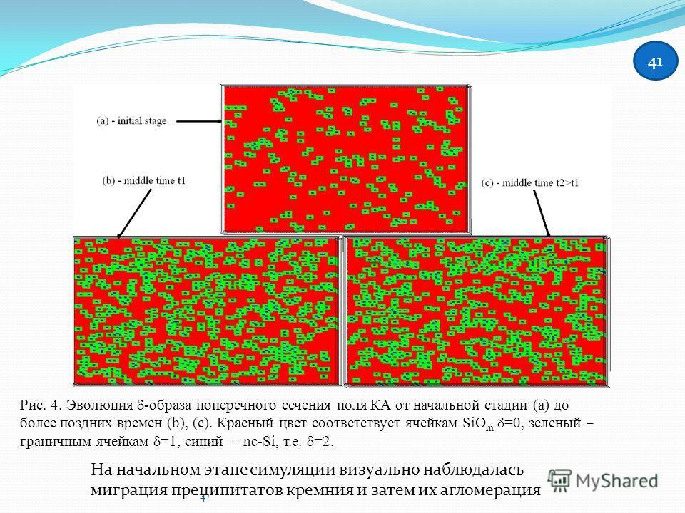 41 Рис. 4. Эволюция -образа поперечного сечения поля КА от начальной стадии (a) до более поздних времен (b), (c). Красный цвет соответствует ячейкам SiO m =0, зеленый – граничным ячейкам =1, синий – nc-Si, т.е. =2. На начальном этапе симуляции визуал