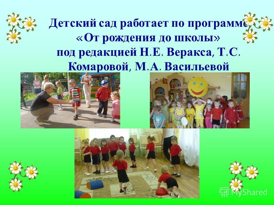 Детский сад работает по программе «От рождения до школы» под редакцией Н.Е. Веракса, Т.С. Комаровой, М.А. Васильевой