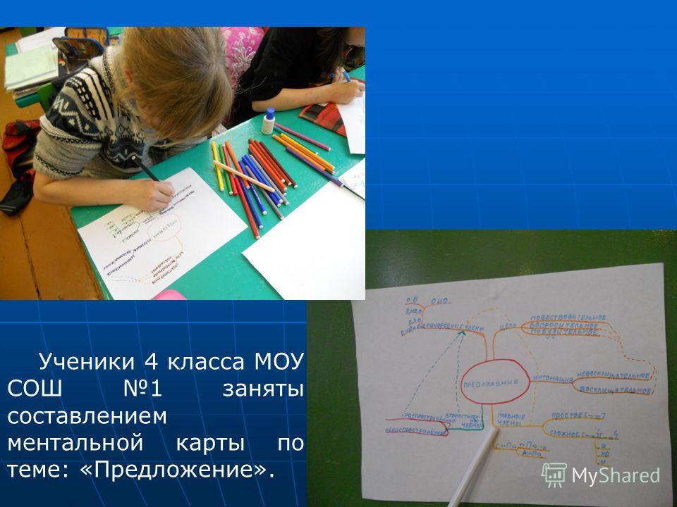 Ученики 4 класса МОУ СОШ 1 заняты составлением ментальной карты по теме: «Предложение».