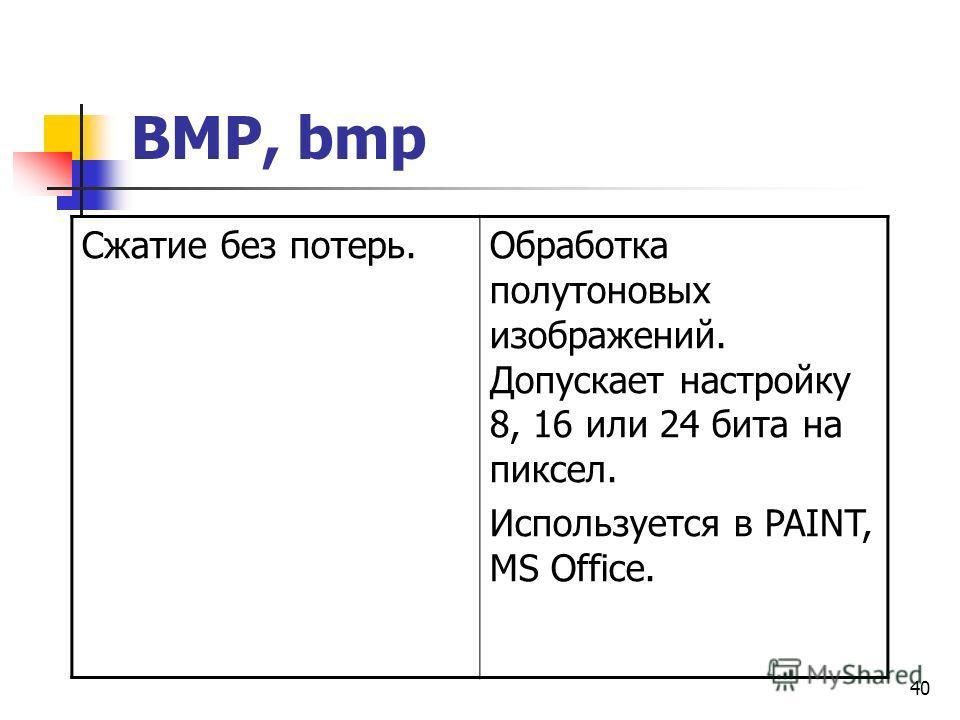 40 BMP, bmp Сжатие без потерь.Обработка полутоновых изображений. Допускает настройку 8, 16 или 24 бита на пиксел. Используется в PAINT, MS Office.