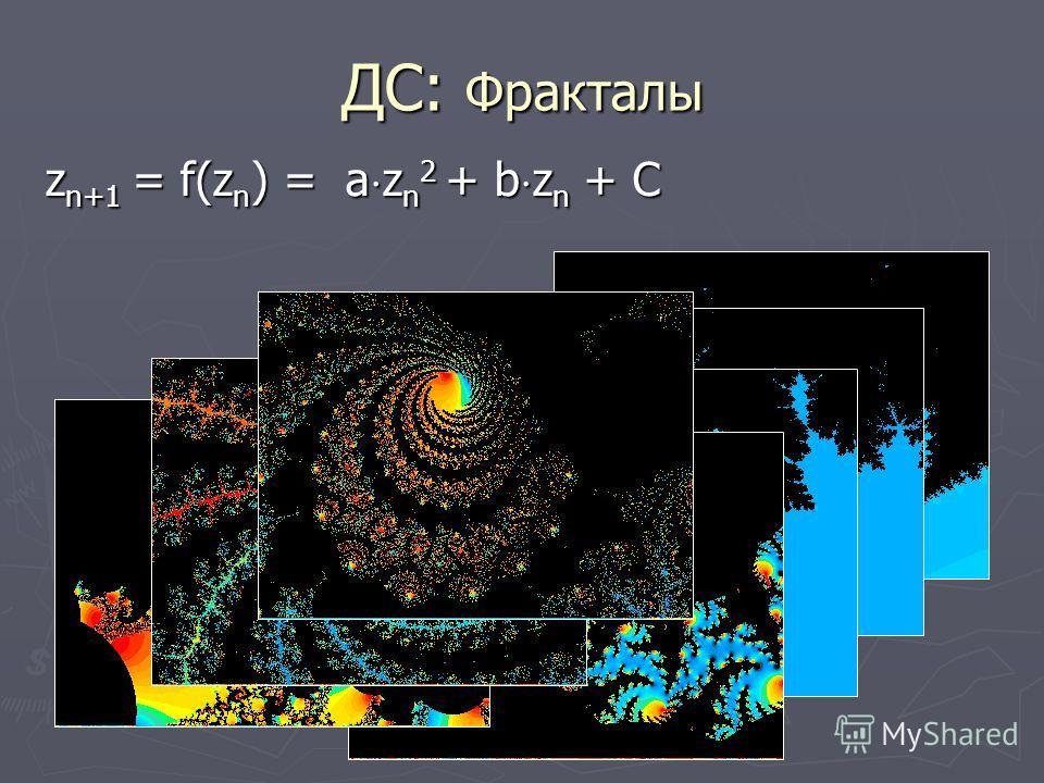 ДС: Фракталы z n+1 = f(z n ) = a z n 2 + b z n + C