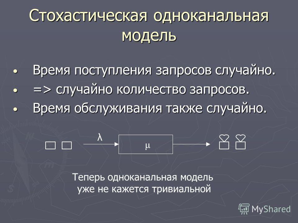 Стохастическая одноканальная модель Время поступления запросов случайно. Время поступления запросов случайно. => случайно количество запросов. => случайно количество запросов. Время обслуживания также случайно. Время обслуживания также случайно. λ μ