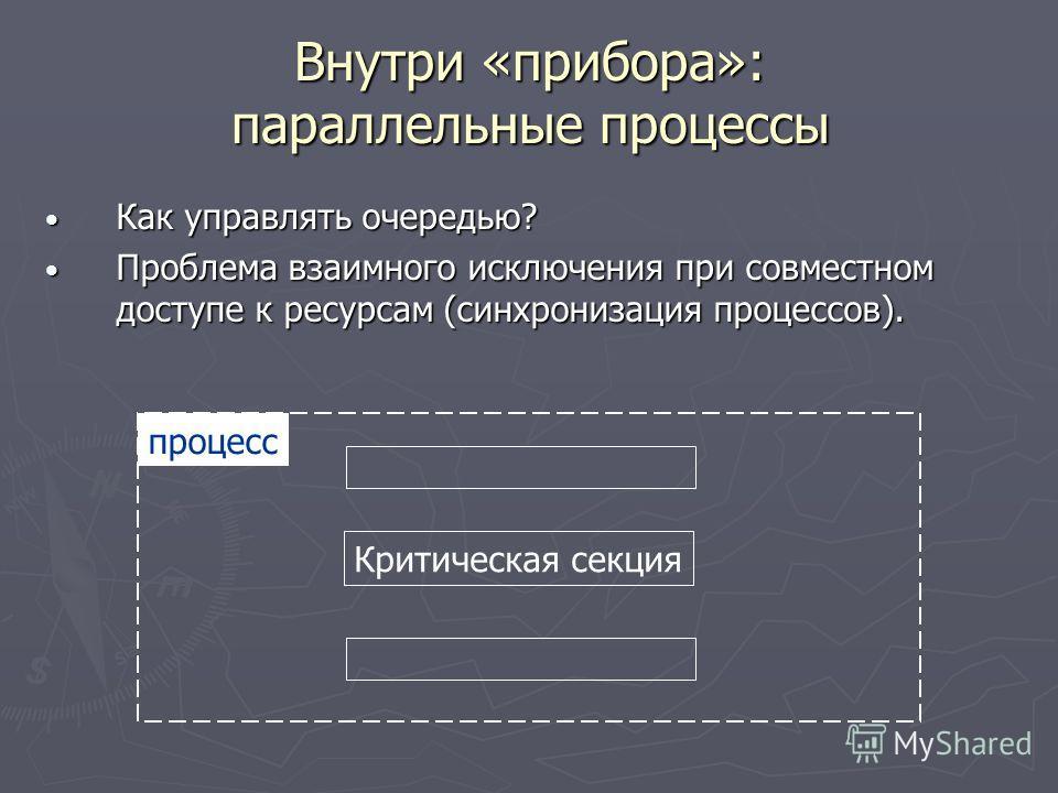 Внутри «прибора»: параллельные процессы Как управлять очередью? Как управлять очередью? Проблема взаимного исключения при совместном доступе к ресурсам (синхронизация процессов). Проблема взаимного исключения при совместном доступе к ресурсам (синхро