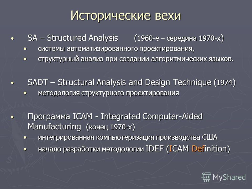 Исторические вехи SA – Structured Analysis ( 1960-е – середина 1970-х ) SA – Structured Analysis ( 1960-е – середина 1970-х ) системы автоматизированного проектирования,системы автоматизированного проектирования, структурный анализ при создании алгор