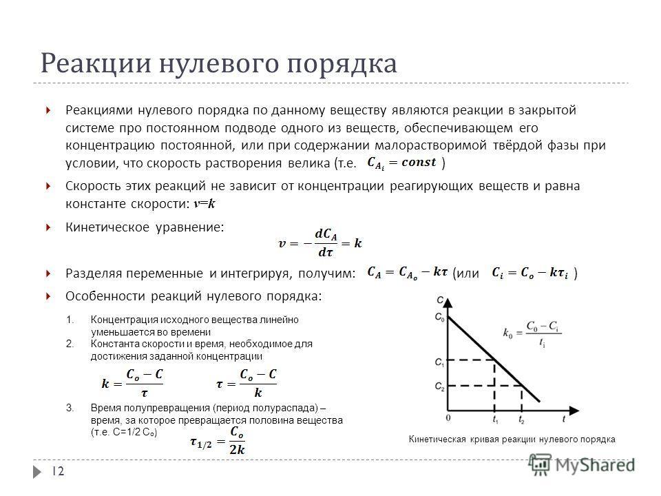 Реакции нулевого порядка Реакциями нулевого порядка по данному веществу являются реакции в закрытой системе про постоянном подводе одного из веществ, обеспечивающем его концентрацию постоянной, или при содержании малорастворимой твёрдой фазы при усло