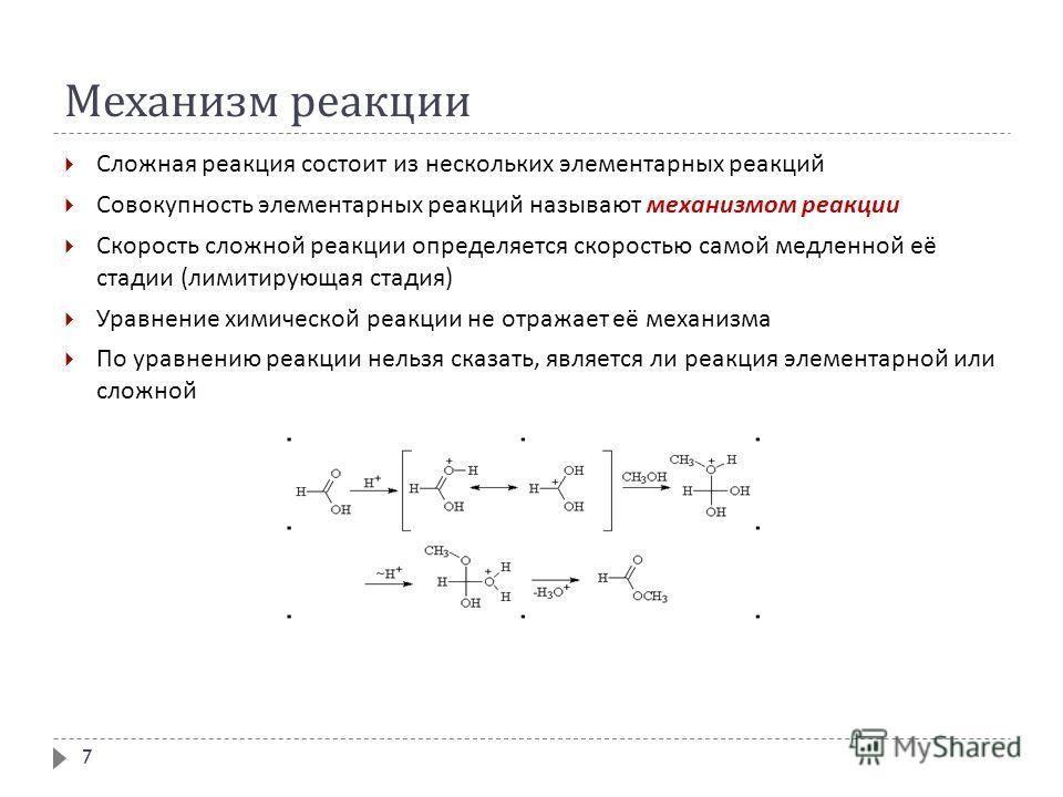 Механизм реакции Сложная реакция состоит из нескольких элементарных реакций Совокупность элементарных реакций называют механизмом реакции Скорость сложной реакции определяется скоростью самой медленной её стадии ( лимитирующая стадия ) Уравнение хими