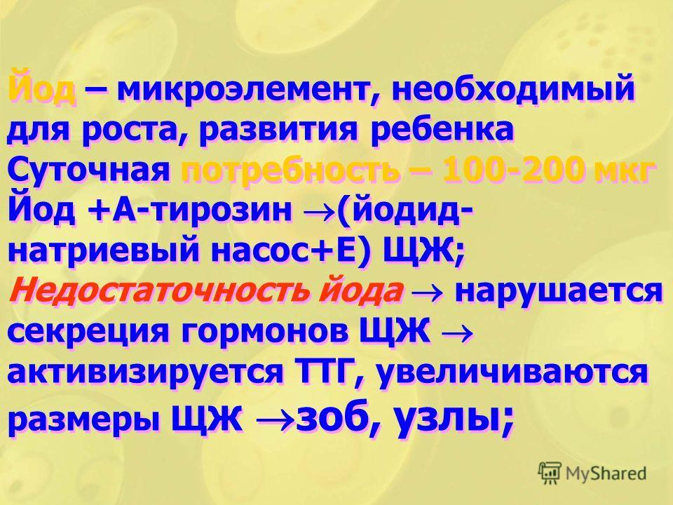Йод – микроэлемент, необходимый для роста, развития ребенка Суточная потребность – 100-200 мкг Йод +А-тирозин (йодид- натриевый насос+Е) ЩЖ; Недостаточность йода нарушается секреция гормонов ЩЖ активизируется ТТГ, увеличиваются размеры ЩЖ зоб, узлы;