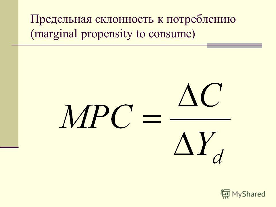 Предельная склонность к потреблению (marginal propensity to consume)