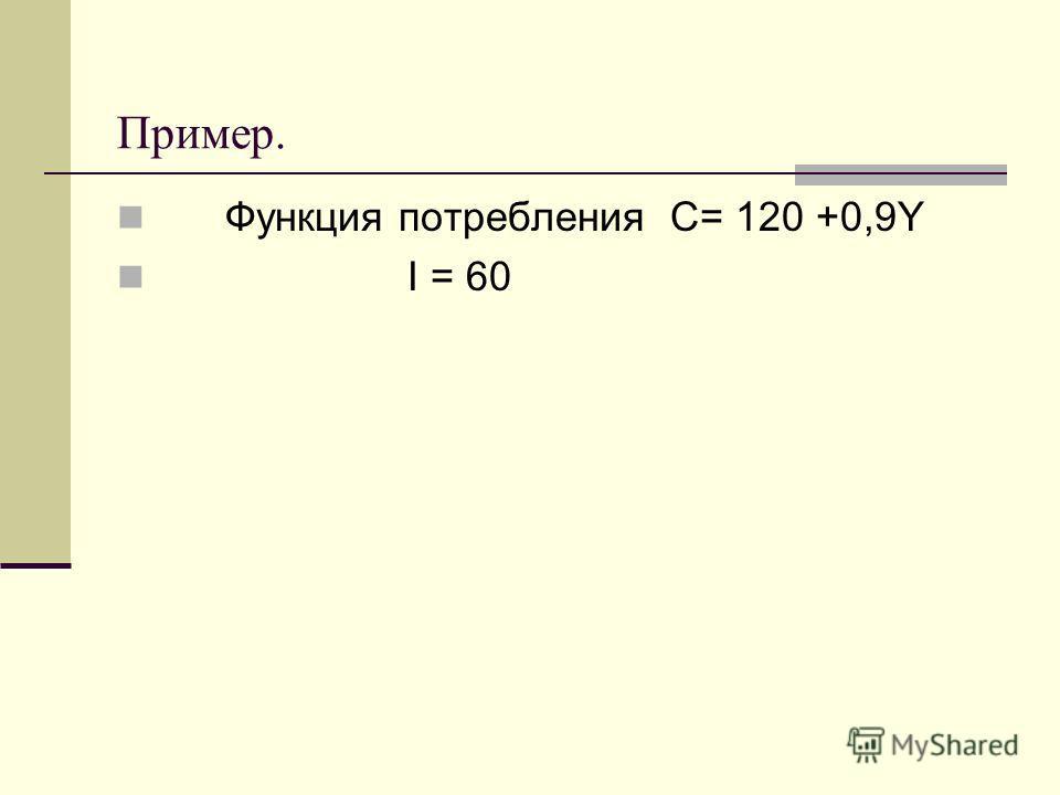 Пример. Функция потребления С= 120 +0,9Y I = 60