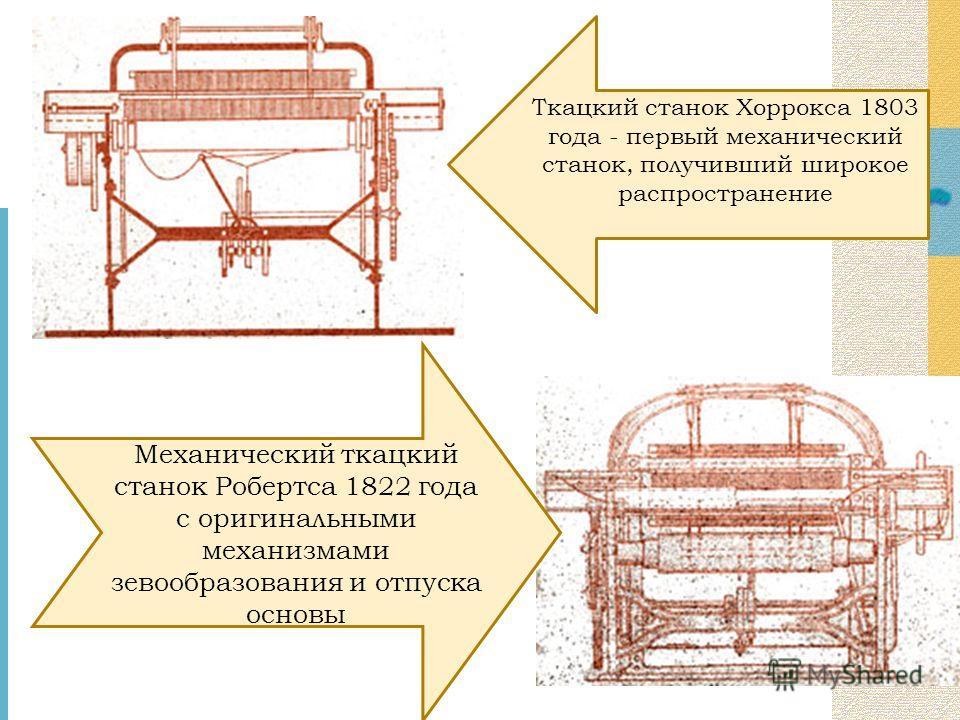 Механический ткацкий станок Робертса 1822 года с оригинальными механизмами зевообразования и отпуска основы Ткацкий станок Хоррокса 1803 года - первый механический станок, получивший широкое распространение
