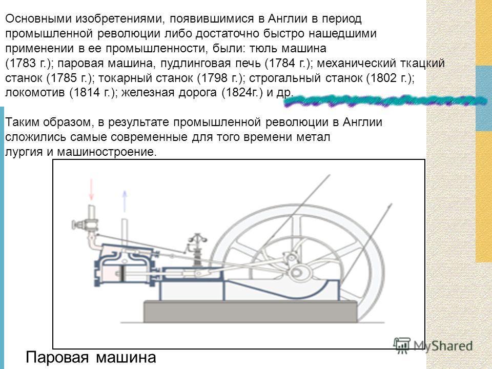 Основными изобретениями, появившимися в Англии в период промышленной революции либо достаточно быстро нашедшими применении в ее промышленности, были: тюль машина (1783 г.); паровая машина, пудлинговая печь (1784 г.); механический ткацкий станок (1785