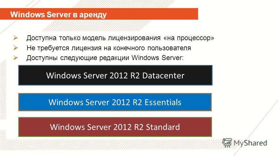 Доступна только модель лицензирования «на процессор» Не требуется лицензия на конечного пользователя Доступны следующие редакции Windows Server: Windows Server 2012 R2 Datacenter Windows Server 2012 R2 Essentials Windows Server 2012 R2 Standard Windo