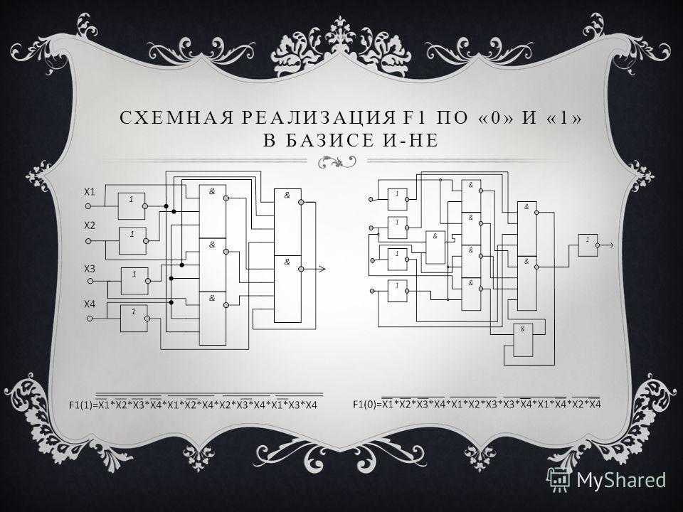 СХЕМНАЯ РЕАЛИЗАЦИЯ F1 ПО «0» И «1» В БАЗИСЕ И-НЕ