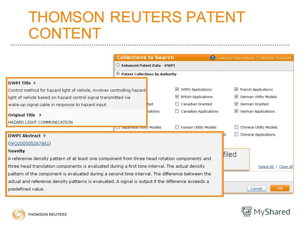 THOMSON REUTERS PATENT CONTENT 98% of worlds filed patents
