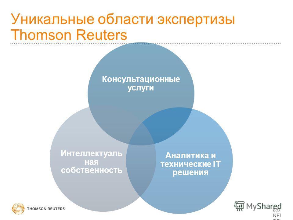 Уникальные области экспертизы Thomson Reuters CO NFI DE NTI AL 25 Консультационные услуги Аналитика и технические IT решения Интеллектуаль ная собственность