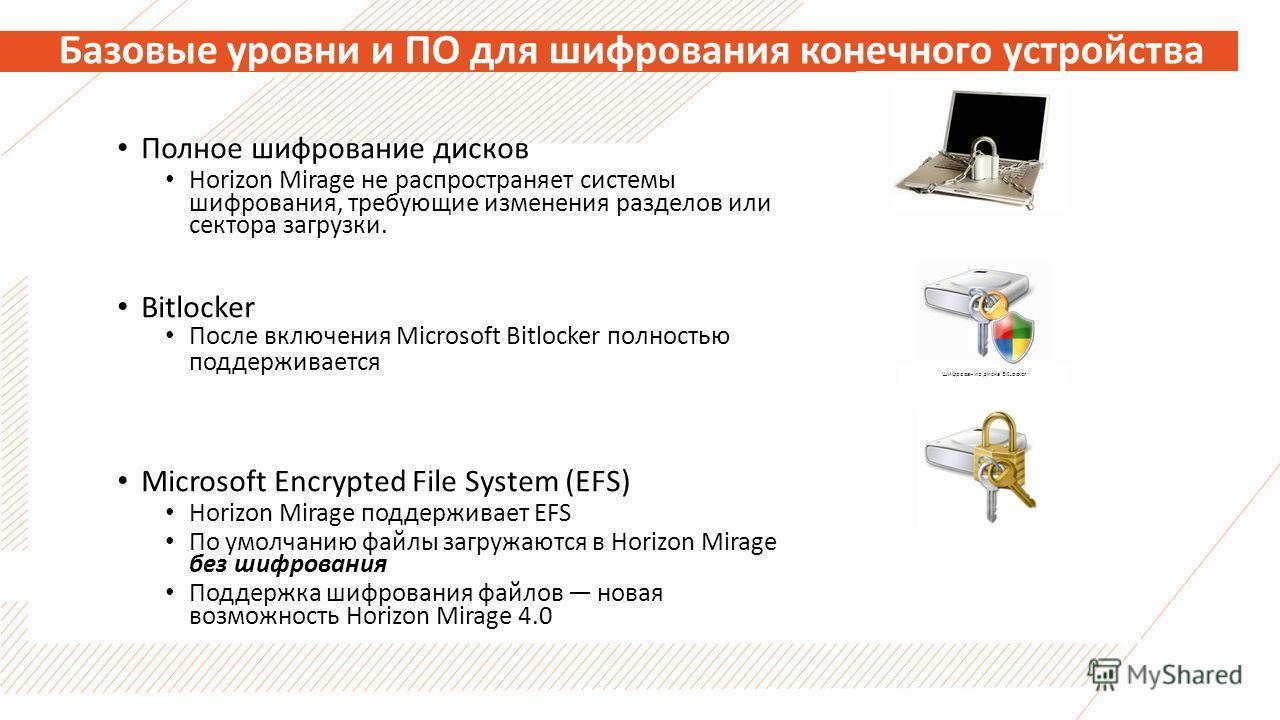 Базовые уровни и ПО для шифрования конечного устройства Полное шифрование дисков Horizon Mirage не распространяет системы шифрования, требующие изменения разделов или сектора загрузки. Bitlocker После включения Microsoft Bitlocker полностью поддержив