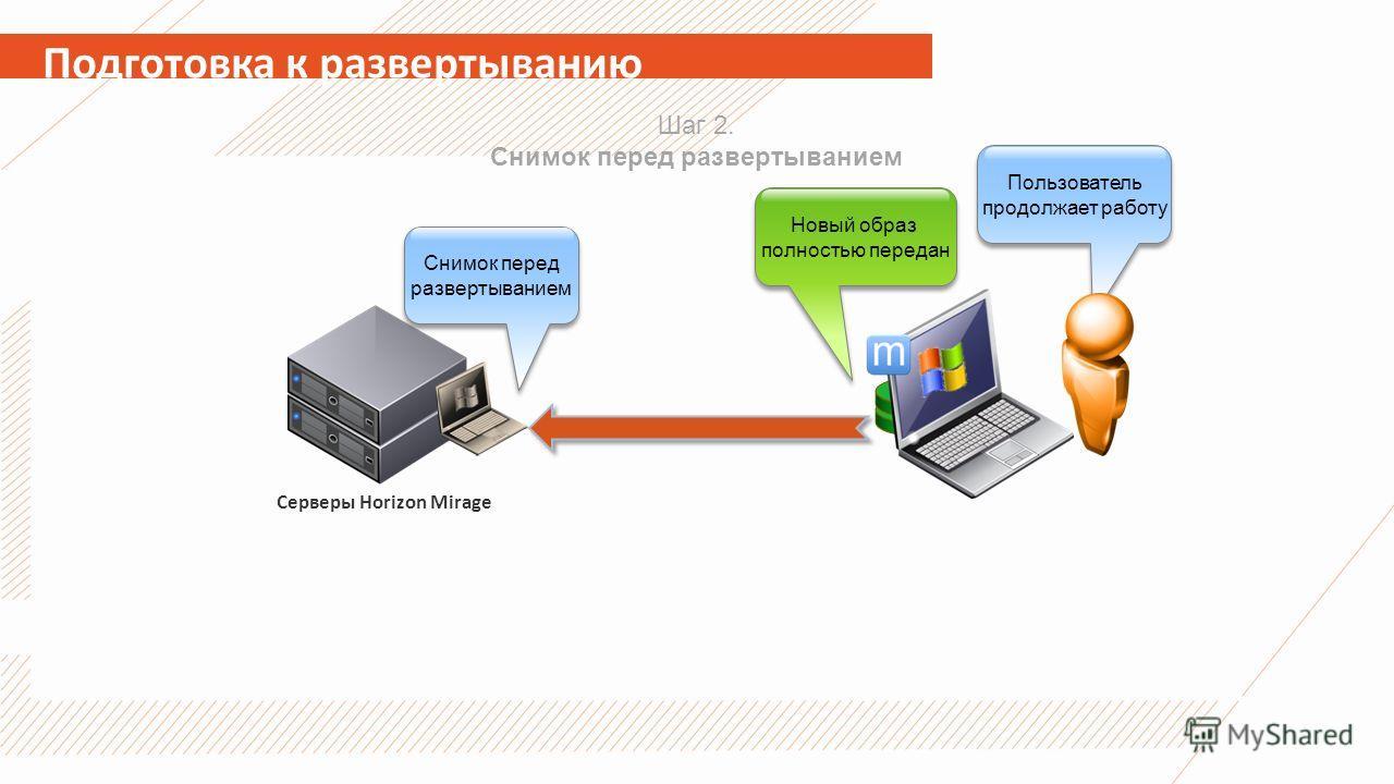 Подготовка к развертыванию Серверы Horizon Mirage Шаг 2. Снимок перед развертыванием Снимок перед развертыванием Новый образ полностью передан Пользователь продолжает работу